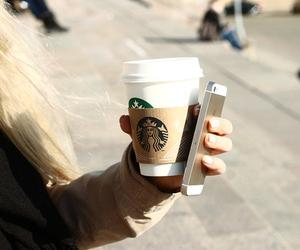 starbucks, iphone, and coffee image