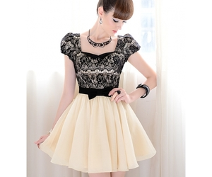 dress, bow, and black image