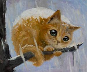 cat, art, and snow image