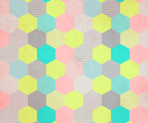 colors, background, and hexagon image