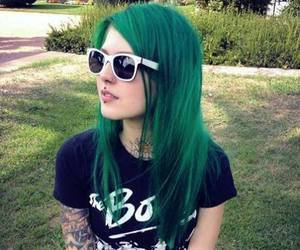 tattoo, girl, and green image