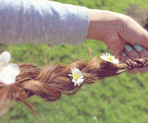 braid, Wild Flowers, and cute image