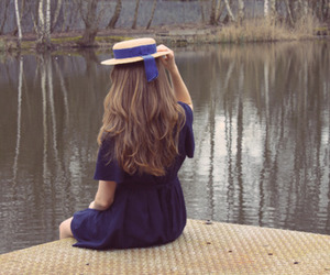 girl, hat, and blue image