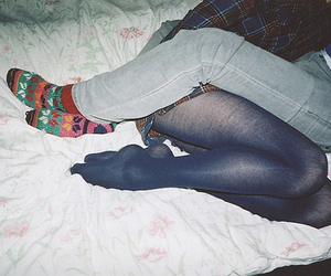couple, legs, and bed image