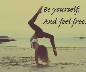 beach, girl, and gymnastic image