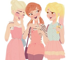 elsa, anna, and rapunzel image