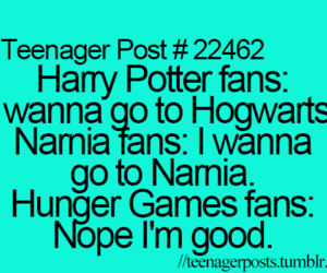 harry potter, hunger games, and narnia image