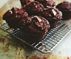 food, chocolate, and muffins image