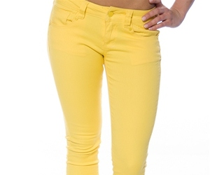 skinny jeans, skinny pants, and yellow jeans image