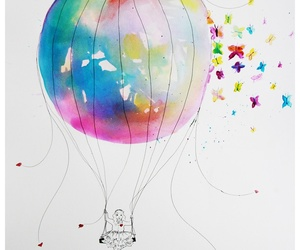 butterfly, balloons, and colors image