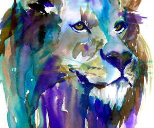 lion, painting, and art image