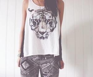 fashion, girl, and tiger image
