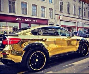 gold, bmw, and car image