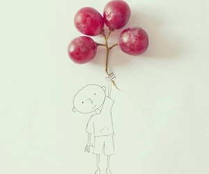 boy, happy, and grapes image