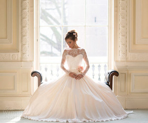 wedding dress, bride, and ball gown image