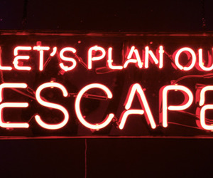 escape, red, and words image