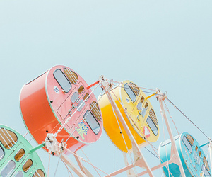 pastel, ferris wheel, and sky image