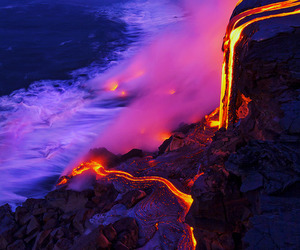 fire, ocean, and pink image