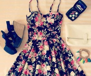 dress, flowers, and outfit image