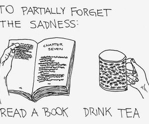 book, tea, and sadness image