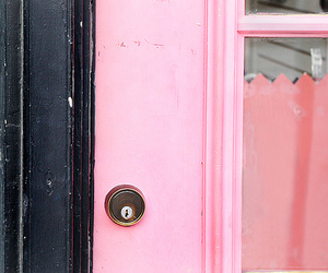 door, pink, and windows image