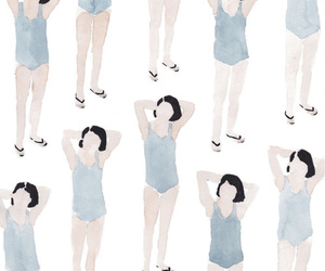 girl, pattern, and blue image