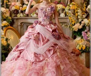 girly, gown, and pink image