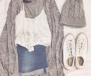 cardigan, shorts, and cute image