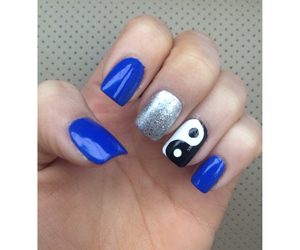 blue, yingyang, and nails image