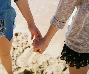 beach, pretty, and together image