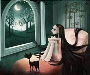cartoon, girl, and cat image