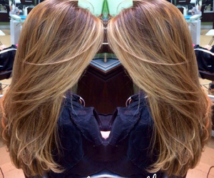 hairstyle, highlights, and blonde image