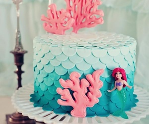 ariel, cake, and mermaid image
