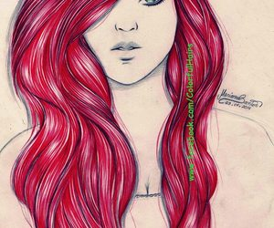 red hair and ballpoint pen drawing image