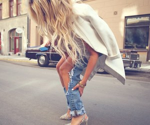 fashion, blonde, and jeans image