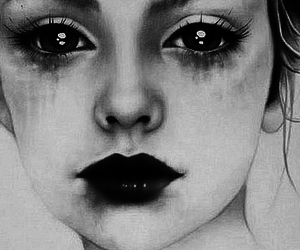 art, black and white, and sadness image