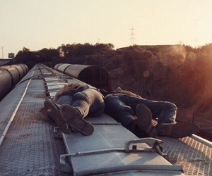 train, couple, and travel image