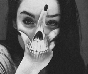 girl, skull, and tattoo image