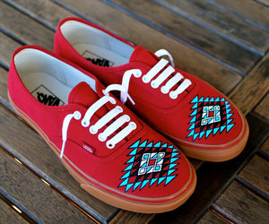 hand painted sneakers, bstreetshoes, and dreamcatcher vans shoes image