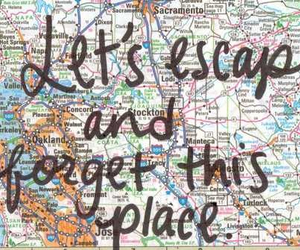 escape, travel, and map image
