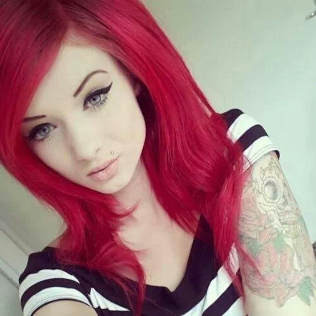 tattoo, hair, and red hair image