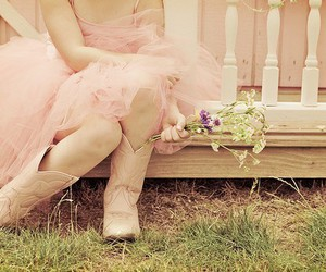 flowers, pink, and boots image