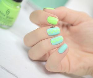 blue, nail art, and green image