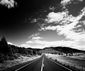 black and white, highway, and view image