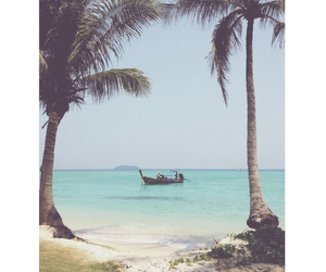 beach, boat, and palm trees image