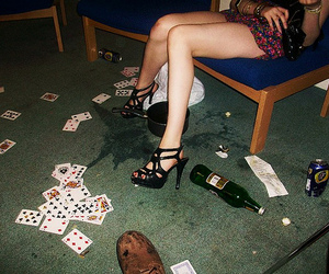 alcohol, cards, and chair image