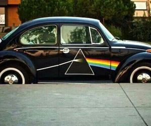 car, dark side of the moon, and cool image