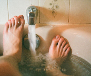 water, feet, and vintage image