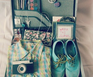 blue, briefcase, and camera image