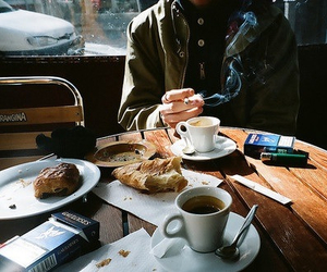 coffee, cigarette, and breakfast image